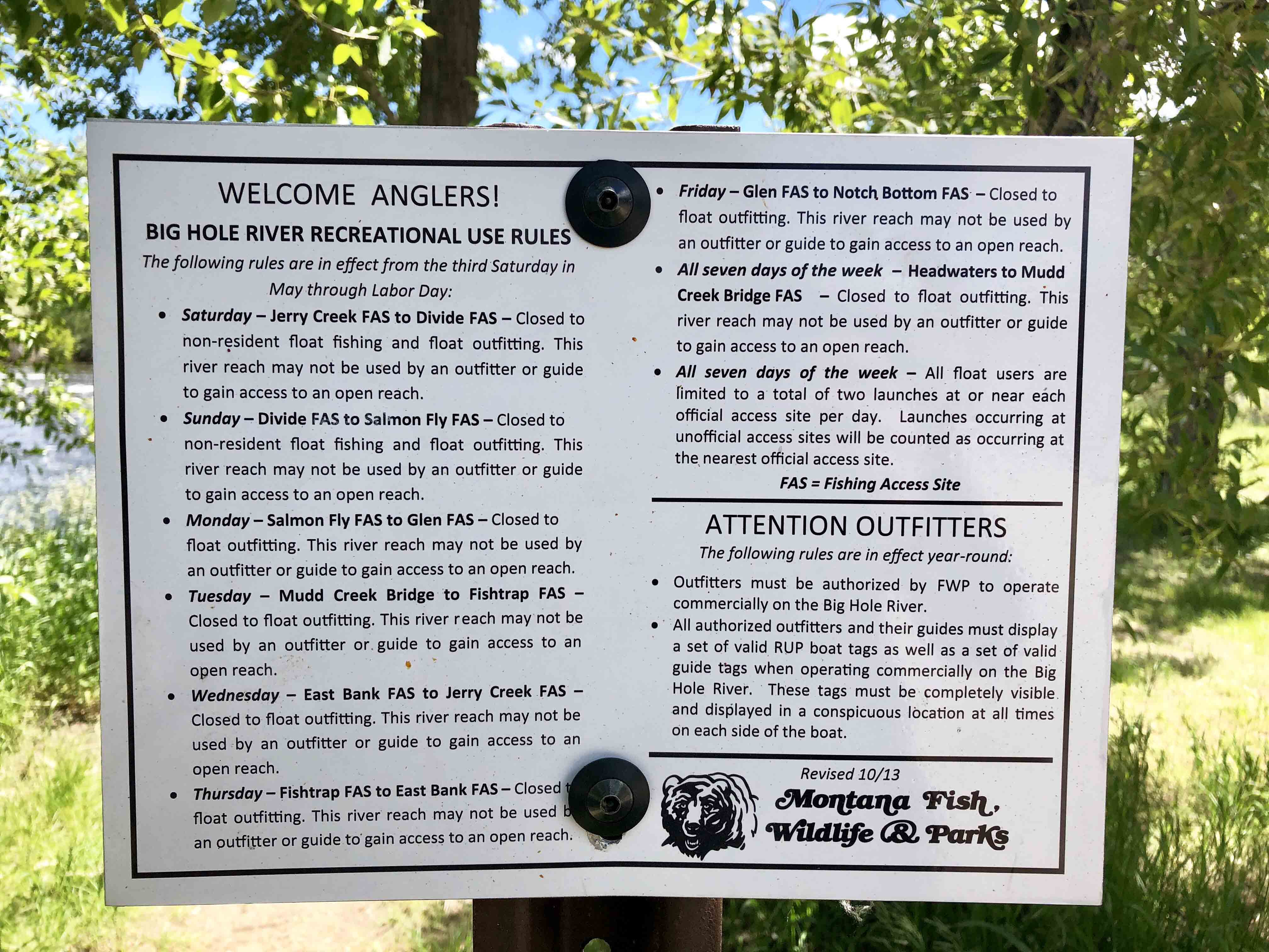 Rules for fishing the Big Hole River in Montana Full