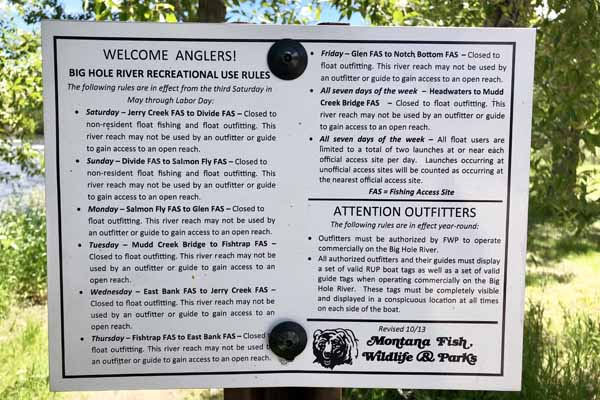 Rules for fishing the Big Hole River in Montana