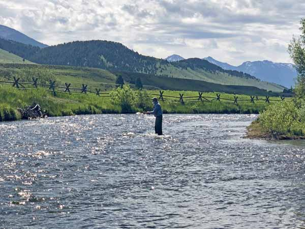 Angler below Lyons Bridge on the Madison River in Montana