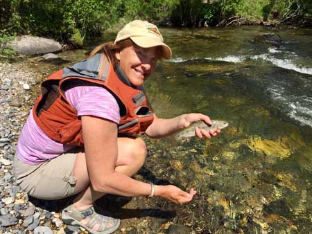 Catching trout in Canyon Creek