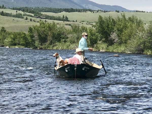 Fishing from a driftboat on the Madison River