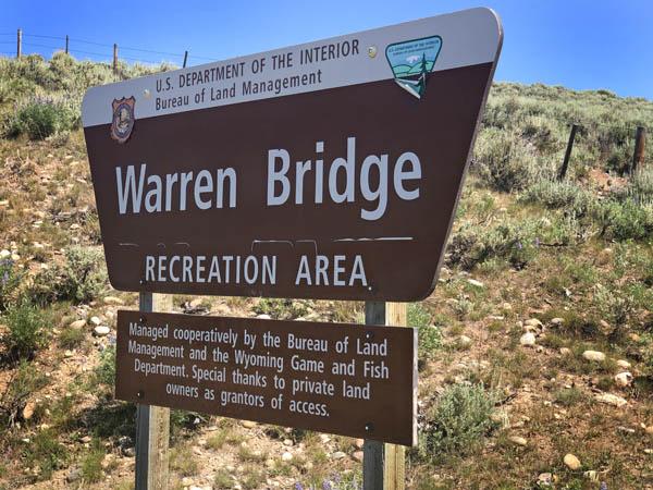 Warren Bridge Sign in Daniel Wyoming near Upper Green River