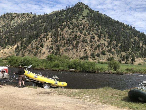 Launching a raft in the upper Rock Creek Area