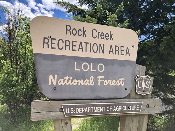 Rock Creek Recreation Area Sign on Rock Creek Road