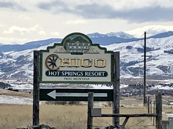 Chico Hot Springs Sign in Paradise Valley in Montana