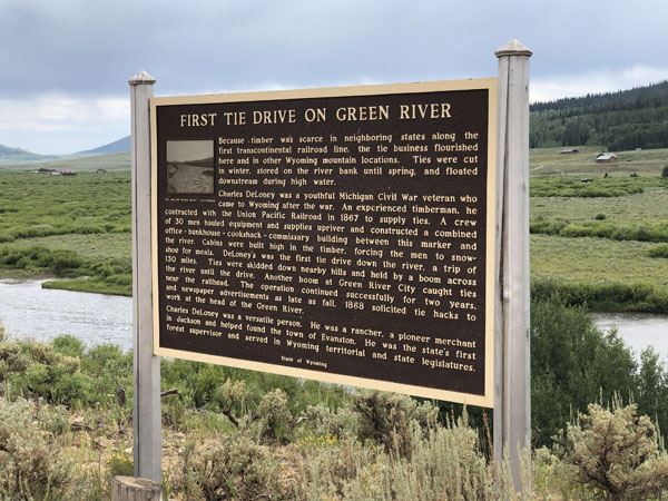 Timber drive on the Green River in Wyoming Sign