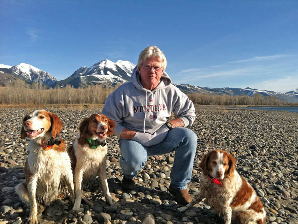 Tim and Dogs Fly fishing the Yellowstone River