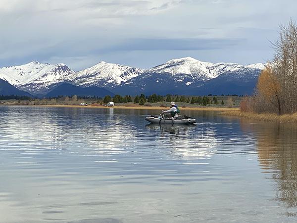 Rowing a Kick Boat on Browns Lake