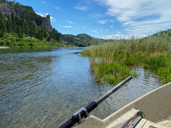 Taking a break while fly fishing the Missouri River near Cascade Montana