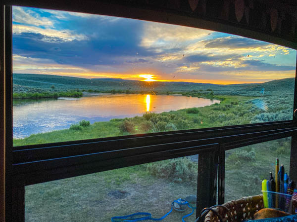 Camping on the Upper Green River in Cora, Wyoming