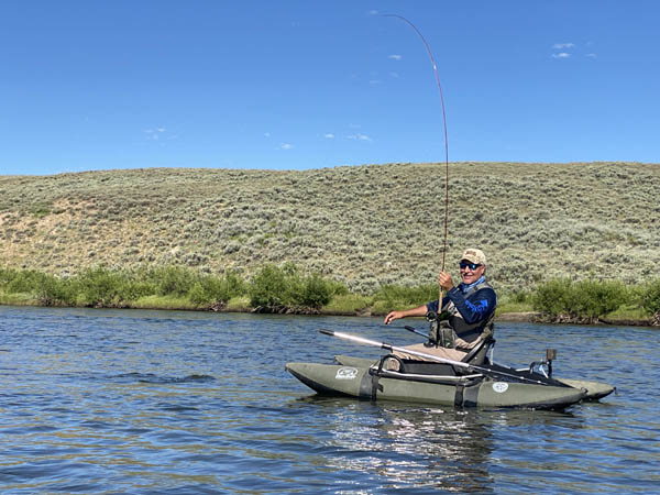 New Friend Mike fishing from a kick boat on the Upper Green River