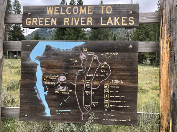 Sign for the Green River Lake in the Wind River Range, Wyoming