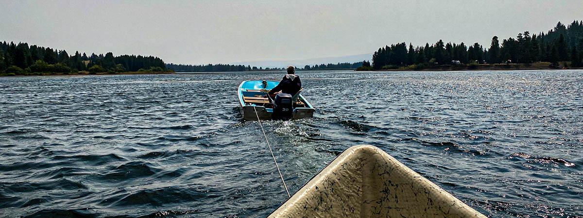 Being towed on Hegen Lake