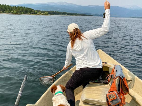 Netting a Gulper on Hebgen Lake in Montana
