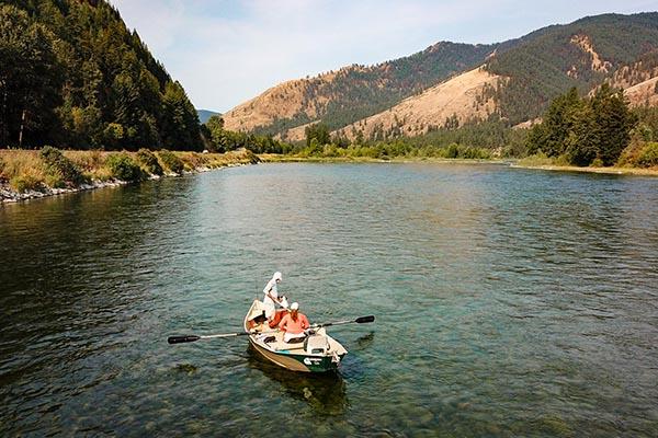 Drifting the Kootenai River near Kootenai Angler